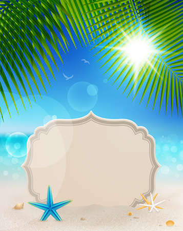 vacation summer: Beautiful seaside view with vintage greeting card, sand and palm leaves. Summer holiday background.