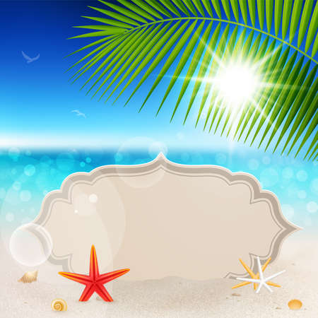 Beautiful seaside view with vintage greeting card, sand and palm leaves. Summer holiday background.