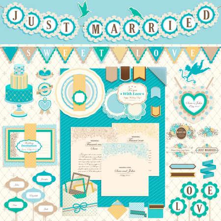 結婚式の日のスクラップ ブック要素。