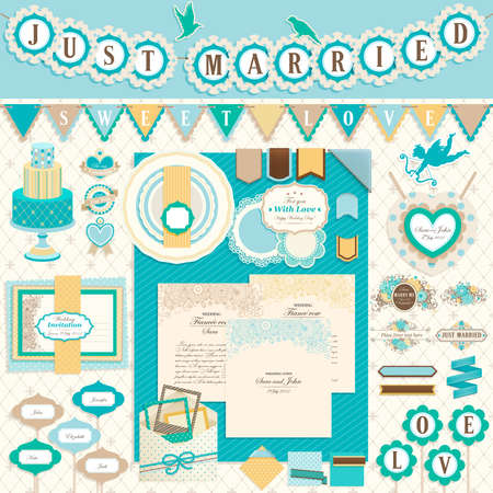 just married: Wedding`s Day scrapbook elements.