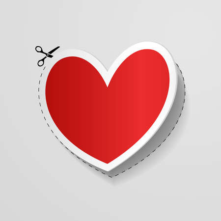 Valentine s Day card with cut heart shaped sticker  illustration  Vector