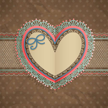 Valentine s Day vintage lace card with heart and place for text  Vector