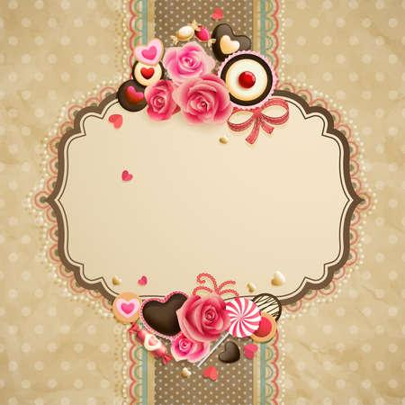 vendange: Valentine s Day card dentelle vintage avec des bonbons et le lieu pour le texte