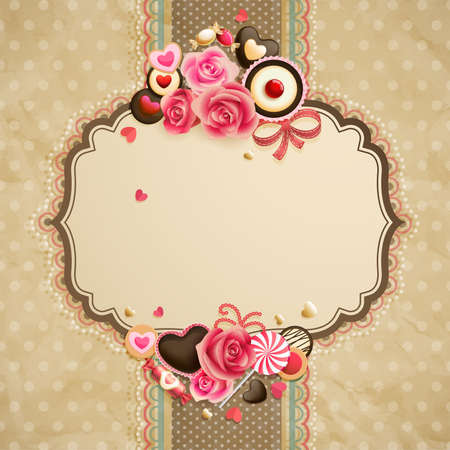 Valentine s Day vintage lace card with sweets and place for text  Illustration