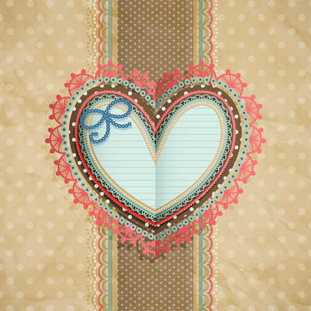 Valentine s Day vintage lacy card with heart and place for text Stock Vector - 14748545