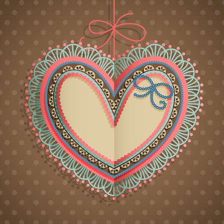 Valentine s Day vintage card with heart and place for text  Stock Vector - 14741811