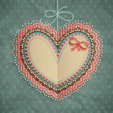 Valentine s Day vintage card with heart and place for text  Vector