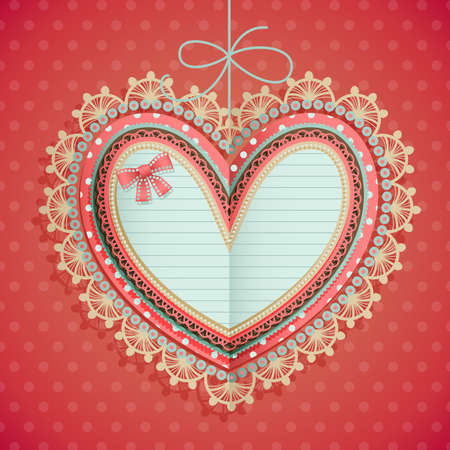 Valentine s Day vintage card with heart and place for text Stock Vector - 14748503