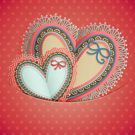 Valentine s Day vintage card with hearts and place for text  Vector