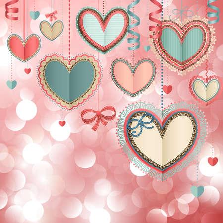 d�a s: D�a de San Valent�n s tarjeta vendimia con corazones de papel de encaje y lugar para el texto