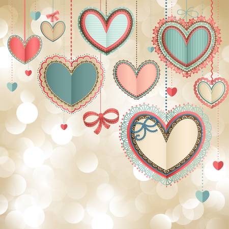 valentine's: Valentine s Day vintage card with lacy paper hearts and place for text  Illustration