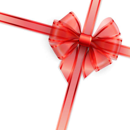red ribbon bow: Red transparent bow isolated on white  = illustration