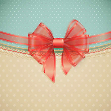 Red transparent bow on vintage background  illustration  Vector