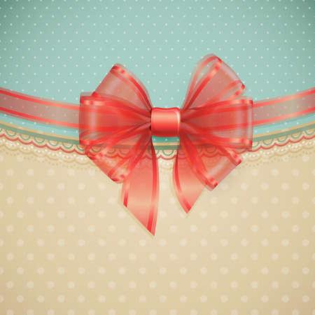 Red transparent bow on vintage background  illustration  Vector