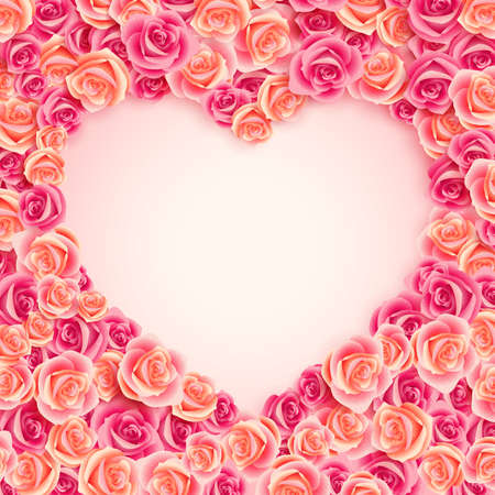 Valentine s Day card on pink roses with place for text Stock Vector - 14748575