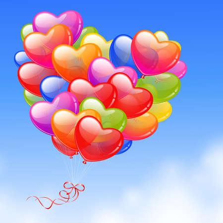 corazon rosa: Globos de colores en forma de coraz�n en la tarjeta del d�a de San Valent�n el cielo s