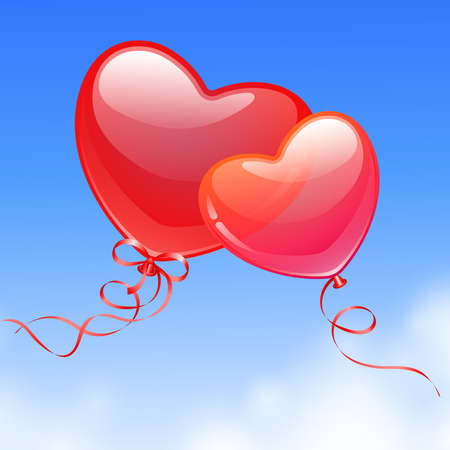 Heart Shaped Balloons in the sky  Valentine s Day card  Vector