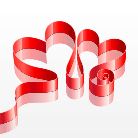 Valentine s Day card with Heart shaped red ribbon isolated on white  Vector