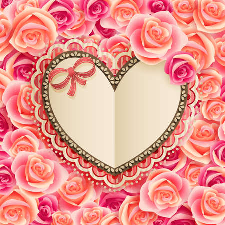 Valentine s Day vintage card with place for text on roses  Vector