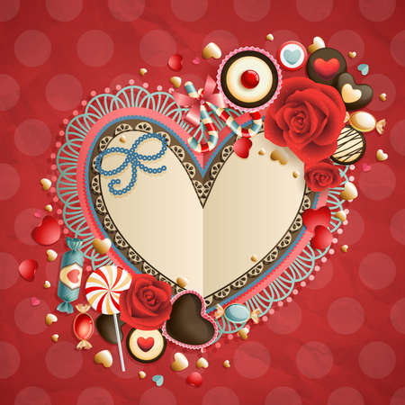 Valentine s Day vintage card with place for text  Vector