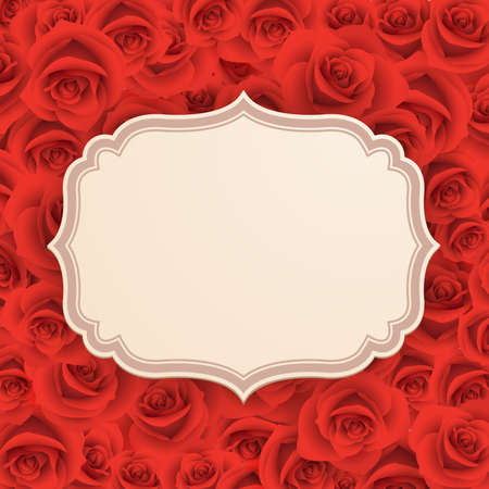 Greeting card with roses and place for text  Vector