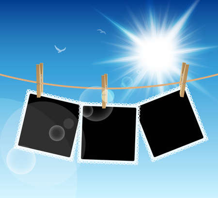 Hanging Pictures on blue sky background. Vector illustration. Vector