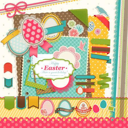 scrap paper: Easter scrapbook elements illustration