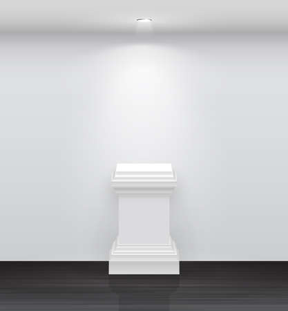 exhibition: 3d Empty white stand for your exhibit  illustration  Illustration