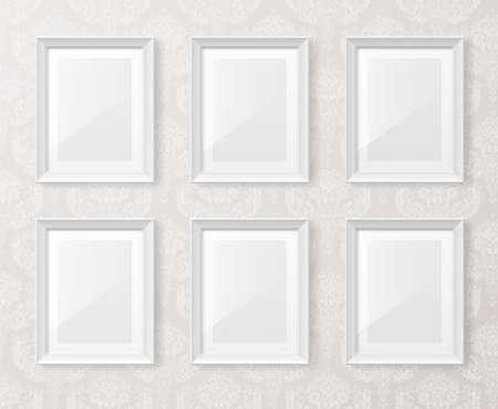 White vintage interior with frames on the wall. Vector