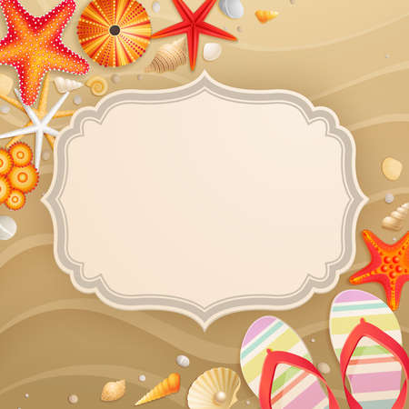 place for text: Vintage Holiday greeting card with shells and starfishes and place for text.
