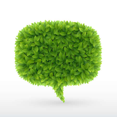Summer Bubble for speech, Green leaves. illustration.