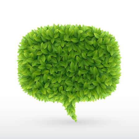 hojas parra: Verano burbujas para el habla, las hojas verdes. ilustración.