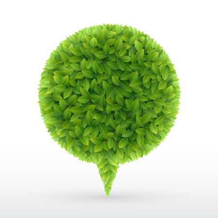 Summer Bubble for speech, Green leaves. Vector illustration