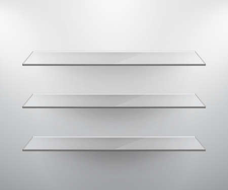 Glass isolated Empty shelves for exhibit. Vector illustration. Vector