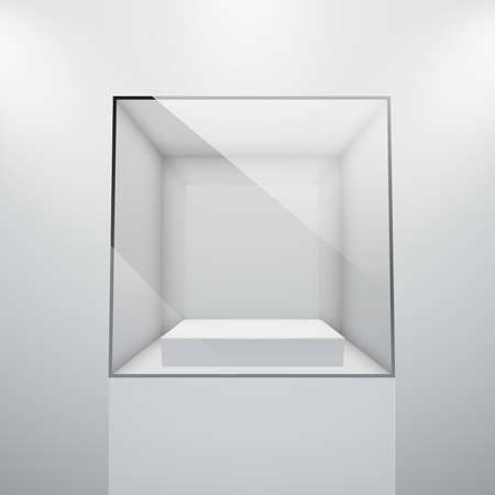 3d Empty glass showcase for exhibit. Vector illustration. Vector