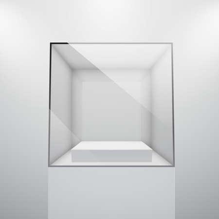 3d Leeg glas showcase voor tentoonstelling. Vector illustratie. Vector Illustratie