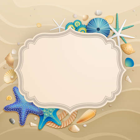 paradise beach: Vintage Holiday greeting card with  shell sand starfishes and place for text.