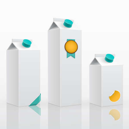 packaging template: Blank milk or juice pack 3 different sizes. 3d ]illustration.