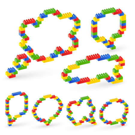 free thought: Colorful brick toys bubbles. illustration.