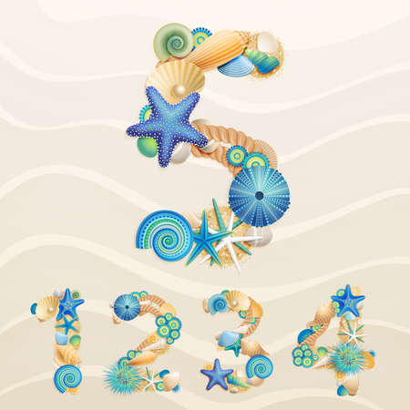 Numbers, sea life font on sand background. Check my portfolio for letters.