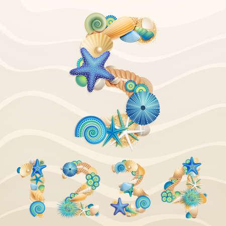 stella marina: Numeri, la vita dei caratteri mare sulla sabbia sfondo. Controllare il mio portafoglio per le lettere. Vettoriali