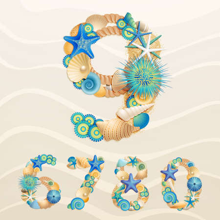 detail: Numbers, sea life font on sand background. Check my portfolio for letters.