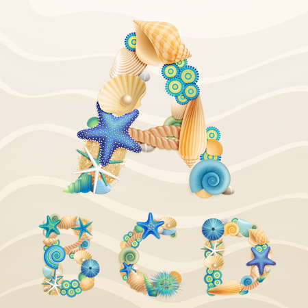 sea life font on sand background. Check my portfolio for other letters, and numbers. Stock Vector - 14749089