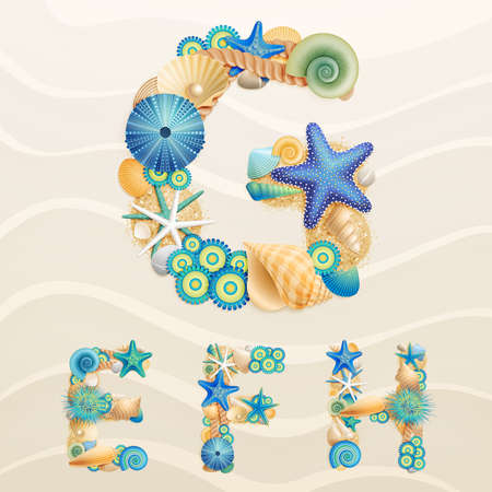 coral: sea life font on sand background. Check my portfolio for other letters, and numbers.