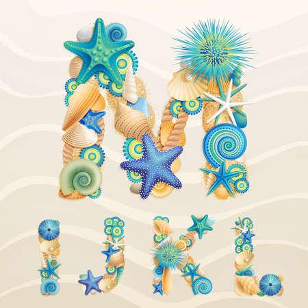 seestern: Leben im Meer Schrift auf Sand Hintergrund. �berpr�fen Sie mein Portfolio f�r andere Buchstaben und Zahlen. Illustration
