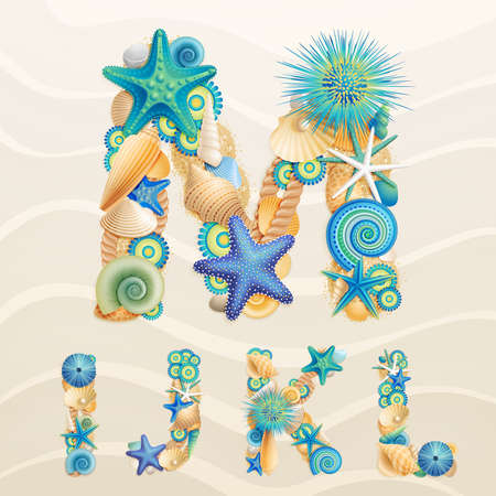 the marine life: sea life font on sand background. Check my portfolio for other letters, and numbers.