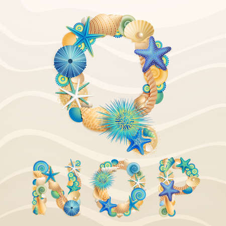 sea life font on sand background. Check my portfolio for other letters, and numbers Vector