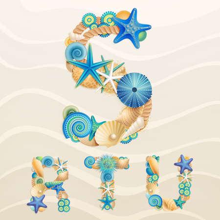 piasek: font życie morskie na tle piasku. Sprawdź moje portfolio dla innych liter i cyfr. Ilustracja
