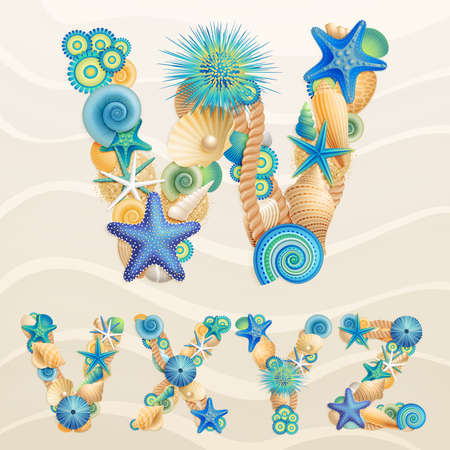 sea stars: sea life font on sand background. Check my portfolio for other letters, and numbers.