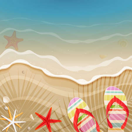 starfish beach: Flip-flops and shells on the beach.  illustration Illustration